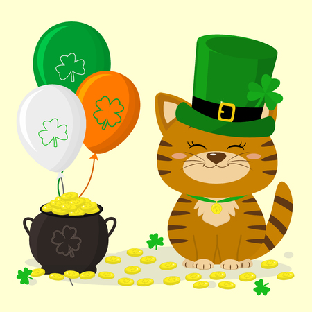 St.Patrick s Day. Ginger striped kitten in a green hat of the gnome, a pot of gold coins, three balloons, clover. Cartoon style, flat design. Vector illustration. Ilustração