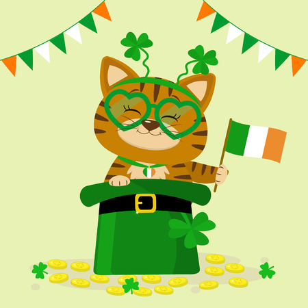 St.Patrick s Day. A red tabby cat in a headband with clover, sits in a green hat, a leprechaun, gold coins, flag of ireland. Cartoon style, flat design. Vector illustration. Ilustração