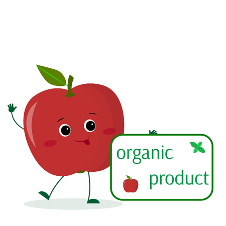 A cute red apple cartoon character holds a plate of organic foods. Vector illustration, a flat style. Vettoriali