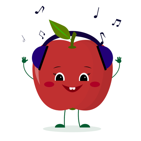 A cute red apple character in cartoon style listening to music on headphones. Logo, template, design. Vector illustration, a flat style.