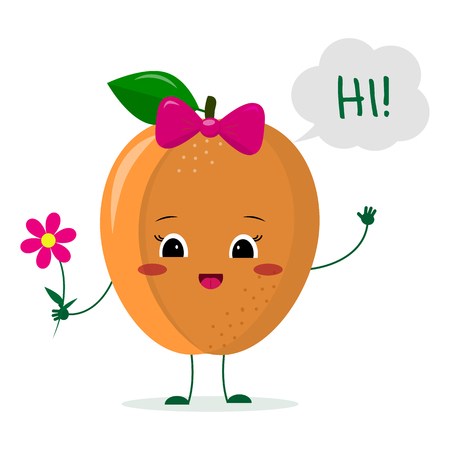 Cute ripe apricot cartoon character with a pink bow holding a flower and welcomes. Logo, template, design. Vector illustration, a flat style.