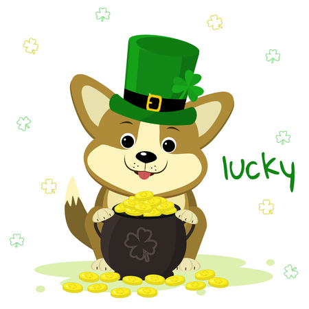 St.Patrick s Day. Cute corgi puppy in green hat leprechaun, bowler with gold coins, clover. Cartoon style, flat design. Vector illustration.