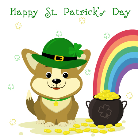 St.Patrick s Day. Cute dog corgi in a leprechaun hat with a clover, bowler with gold coins, rainbow, clover. Cartoon style, flat design. Vector illustration.