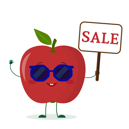Cute red apple cartoon character in sunglasses keeps a sale sign. Vector illustration, a flat style.