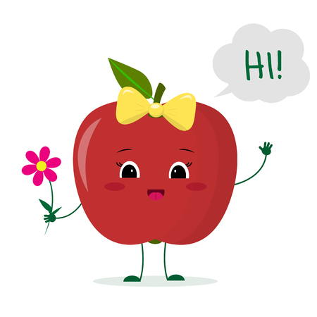 Cute red apple cartoon character with a pink bow holding a flower and welcomes. Logo, template, design. Vector illustration, a flat style.