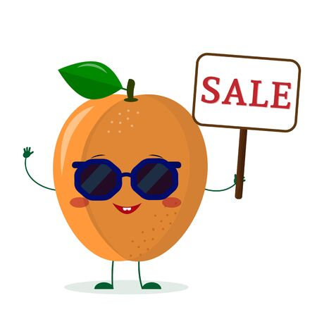 Cute ripe apricot cartoon character in sunglasses holding a sale sign. Logo, template, design. Vector illustration, flat style. Illustration