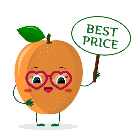 Cute ripe apricot cartoon character in sunglasses keeps a sale sign. Logo, template, design. Vector illustration, a flat style.
