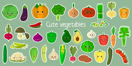 Kawaii cute vegetables and herbs, the faces of the characters of the mega-set of twenty-seven stickers in a white stroke. For your design of cards, scrapbooking, crafting. Cartoon, flat design, vector illustration. Stock Illustratie