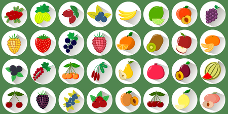 Mega set of icons of various fruits and berries in a white circle with a shadow on a green background. Logo, vegetables for collective farm. Flat style vector.