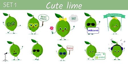 Set von zehn süßen Kawaii-Limonenfiguren in verschiedenen Posen und Accessoires im Cartoon-Stil. Logo, Vorlage, Design. Vektorillustration, flaches Design.