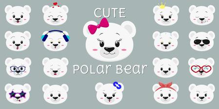 Cute polar bear, mega set of head of different emotions. Cartoon style, flat design, vector illustration.