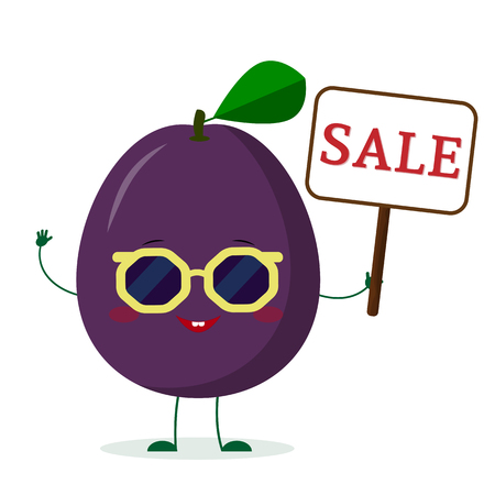 Kawaii cute purple plum cartoon character in sunglasses keeps a sale sign. Logo, template, design. Vector illustration, a flat style. Ilustração