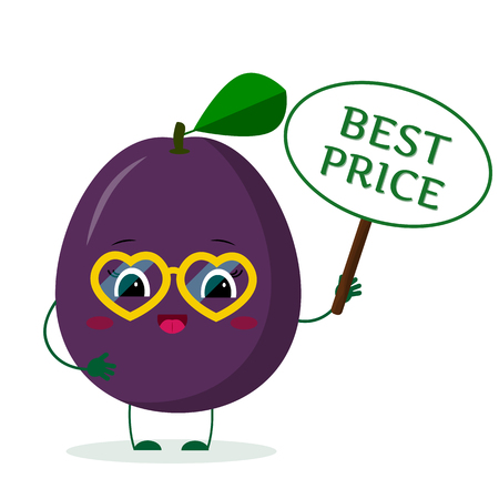 Kawaii ute purple plum cartoon character in yellow heart glasses in the hands of the plate is the best price. Vector illustration, a flat style.