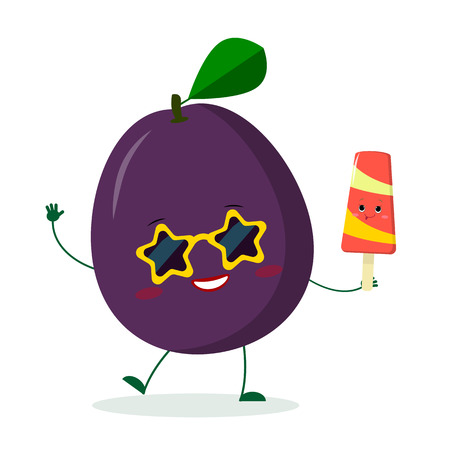 Kawaii cute purple plum character in sunglasses star in the hands of a colorful ice cream. Logo, template, design. Vector illustration, flat style.