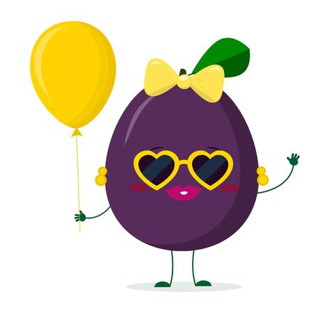 Kawaii süße lila Pflaumen-Cartoon-Charakter-Sonnenbrillenherzen und -ohrringe. Hält einen roten Luftballon. Logo, Vorlage, Design. Vektorillustration, ein flacher Stil.