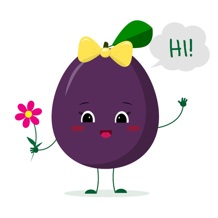 Kawaii cute plum purple fruit cartoon character with a pink bow holding a flower and welcomes. Logo, template, design. Vector illustration, a flat style.