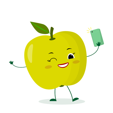 Kawaii cute green apple fruit cartoon character with a smartphone and does selfie. Logo, template, design. Vector illustration, a flat style. Vettoriali