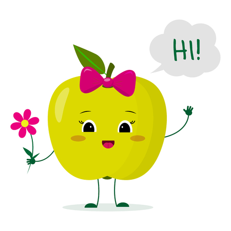 Kawaii cute green apple fruit cartoon character with a pink bow holding a flower and welcomes. Logo, template, design. Vector illustration, a flat style.
