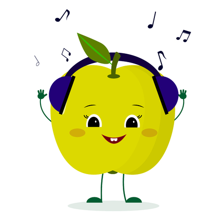Kawaii cute green apple fruit cartoon character in glasses dances to music. Logo, template, design. Vector illustration, a flat style.