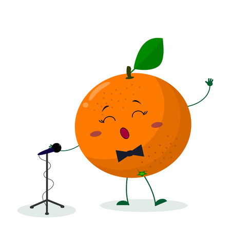 Kawai cute fruit orange singer with a bow tie sings into the microphone. Cartoon style character. Logo, template, design. Vector illustration, flat style.