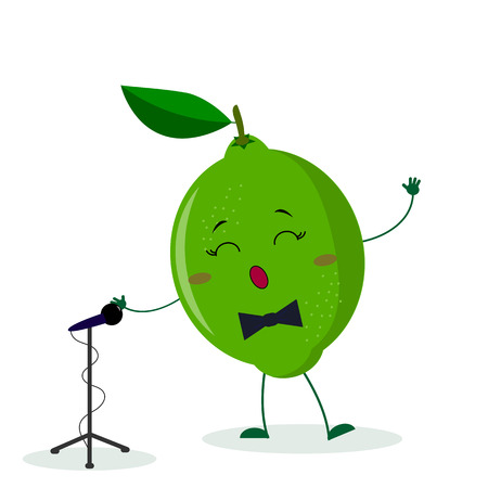 Kawai cute fruit lime singer with a bow tie sings into the microphone. Cartoon style character. Logo, template, design. Vector illustration, flat style. Archivio Fotografico - 122407392