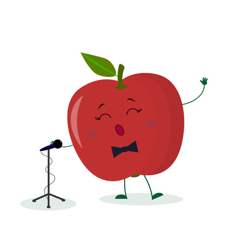 Kawai cute fruit red apple singer with a bow tie sings into the microphone. Cartoon style character. Logo, template, design. Vector illustration, flat style. Ilustracja