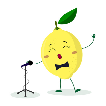 Kawai cute fruit lemon singer with a bow tie sings into the microphone. Cartoon style character. Logo, template, design. Vector illustration, flat style.