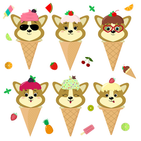 Set collection of six dog corgi puppy in the image of ice cream. A frosting ice cream with a berry, in a cartoon style, sits in a waffle cone on the head. Fruits and berries. Flat, vector.