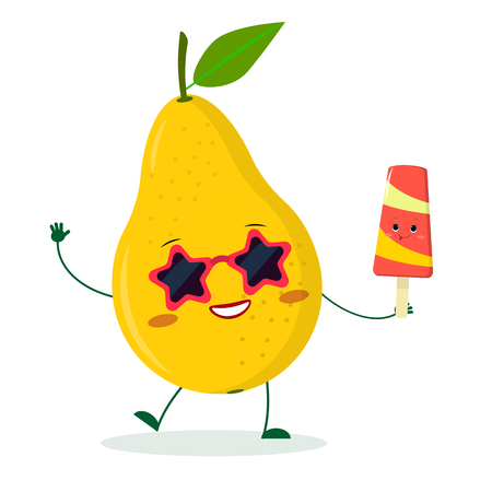 Kawaii cute yellow pear fruit character in sunglasses star in the hands of a colorful ice cream. Logo, template, design. Vector illustration, flat style.