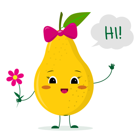 Kawaii cute yellow pear fruit cartoon character with a pink bow holding a flower and welcomes. Logo, template, design. Vector illustration, a flat style.