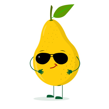 Kawaii cute yellow pear fruit character in the style of a cartoon in sunglasses. Logo, template, design. Vector illustration, a flat style.