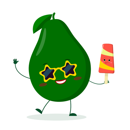 Kawaii cute avocado fruit character in sunglasses star in the hands of a colorful ice cream. Illustration