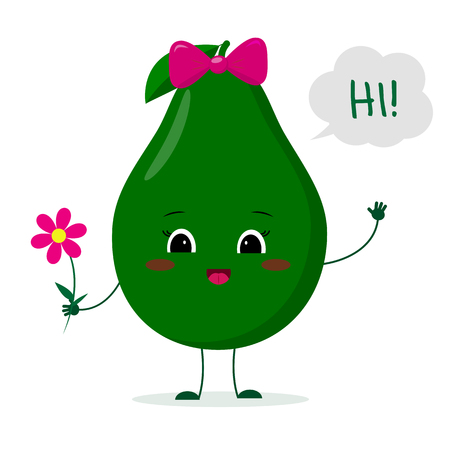 Kawaii cute avocado fruit cartoon character with a pink bow holding a flower and welcomes.