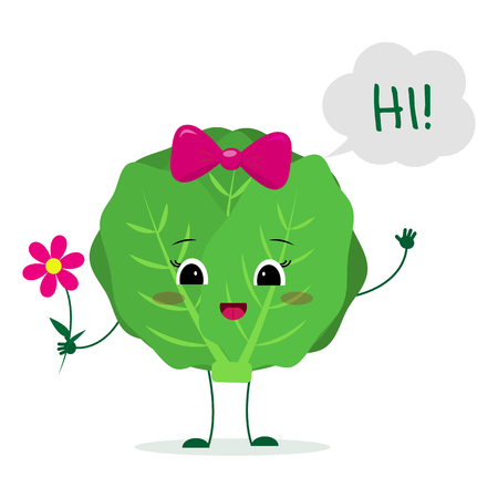 Kawaii cute cabbage vegetable cartoon character with a pink bow holding a flower and welcomes.