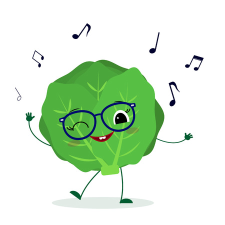 Kawaii cute cabbage vegetable cartoon character in glasses dances to music.