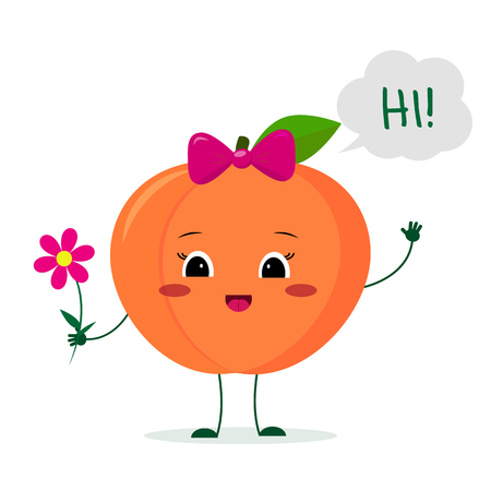 Kawaii cute peach fruit cartoon character with a pink bow holding a flower and welcomes.