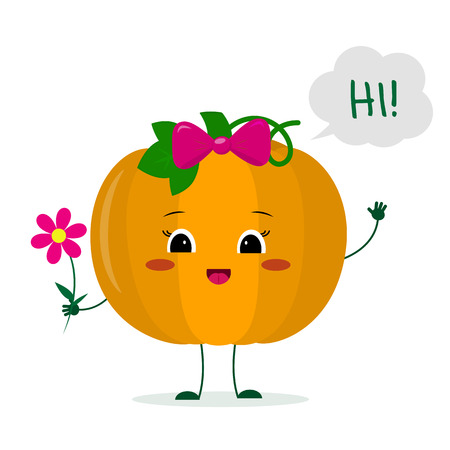 Kawaii cute pumpkin vegetablecartoon character with a pink bow holding a flower and welcomes.