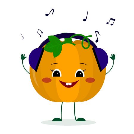 Kawaii cute pumpkin vegetable cartoon character in glasses dances to music.