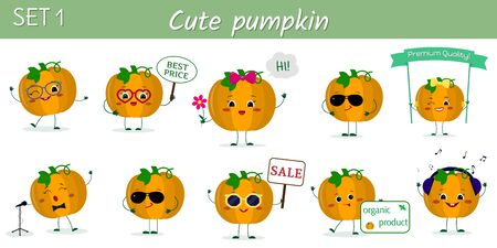 Set of ten cute kawaii pumpkin vegetable fruit characters in various poses and accessories in cartoon style. Vector illustration, flat design. Ilustracja