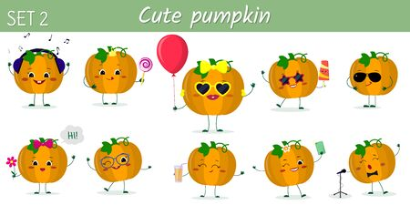 Set of ten cute kawaii pumpkin vegetable characters in various poses and accessories in cartoon style. Vector illustration, flat design. Ilustracja