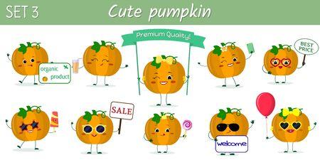 Set of ten cute kawaii pumpkin vegetablecharacters in various poses and accessories in cartoon style. Vector illustration, flat design.