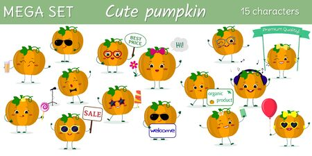 Mega set of fifteen cute kawaii pumpkin vegetable characters in various poses and accessories in cartoon style. Vector illustration, flat design.