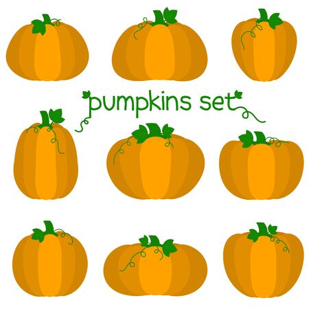 Set of nine cute kawaii pumpkin vegetable characters different shapes in a cartoon style. Vector illustration, flat design Illustration