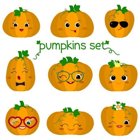 Set of nine cute kawaii pumpkin vegetable characters in different shapes, emotions and accessories in cartoon style. Vector illustration, flat design