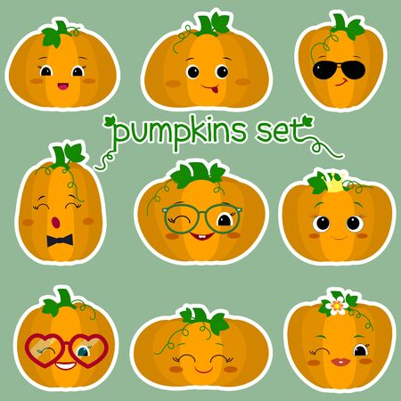 A set of stickers of nine cute kawaii pumpkins in a white stroke. Vegetable characters in various shapes, emotions and accessories in a cartoon style. Vector illustration, flat design.