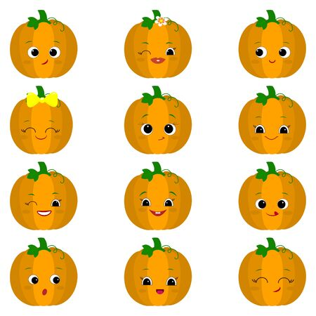 Set of twelve cute kawaii pumpkin vegetable characters different emotions and accessories in cartoon style. Vector illustration, flat design