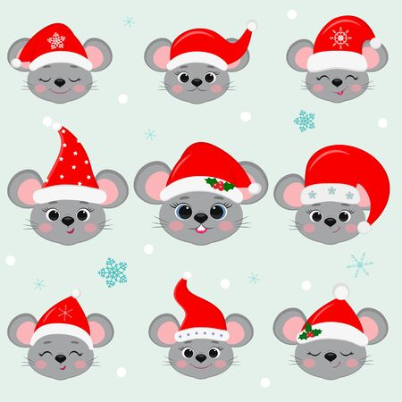 Happy New Year and Merry Christmas. Set of nine cute mouse rat heads in Santas hat. Year of the rat. Cartoon, flat style, vector. Ilustração