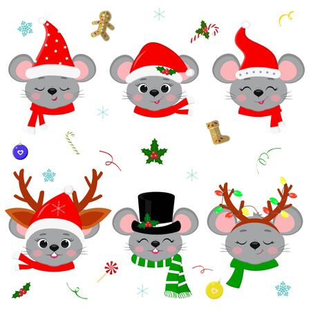Happy New Year and Merry Christmas. A set of six cute mouse rats with different emotions in different Santa Claus hat and scarf, snowman, deer.Year of the rat. Cartoon, flat style, vector. Ilustracja