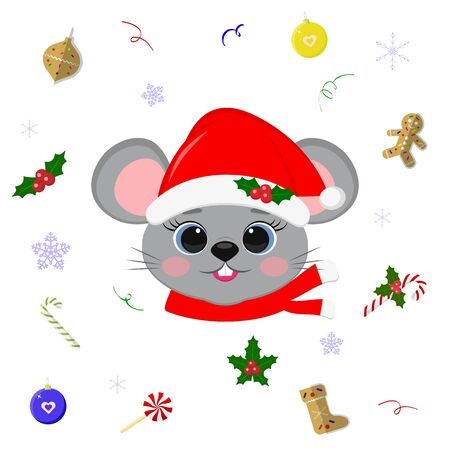 Happy New Year and Merry Christmas. Cute mouse or rat with blue eyes in a Santa hat and scarf. Christmas elements. Year of the rat. Cartoon, flat style, vector. Ilustracja