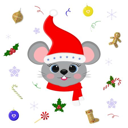 Happy New Year and Merry Christmas. Cute mouse or rat with blue eyes in a Santa hat and scarf. Christmas elements. Year of the rat. Cartoon, flat style, vector. Illustration